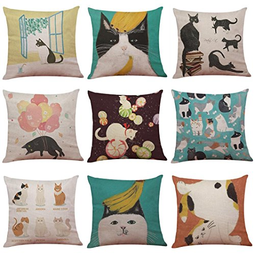 AmyDong Clearance Christmas Cute Cat Linen Pillowcase Christmas PrSofa Bed Home Decoration Festival Pillow Case Cushion Cover (Q)