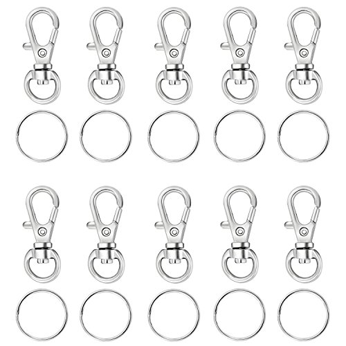 - Houseables Key Chain Clip Hook, Keychain Ring, 100 Bulk Pack (50 Rings, 50 Clasps), 1.5