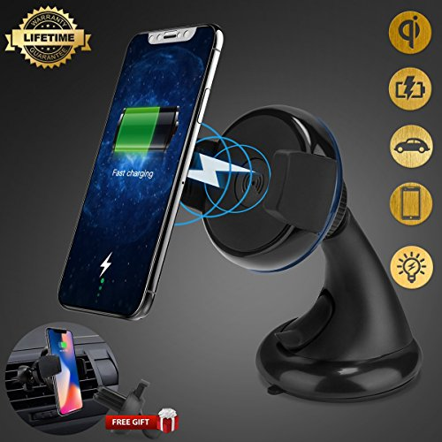 Price comparison product image Wireless Car Charger, iFunTec Car Mount Air Vent Car Phone Holder, Multifunctional Wireless Car Phone Charger Mounts for iPhone X/8/8 Plus, Samsung Galaxy S9/S9+/S8/S8+, Compatible with All Qi-Enable