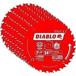 Freud D0724a Diablo 7-14-inch 24t Atb Thin Kerf Framing Saw Blades, 10-pack