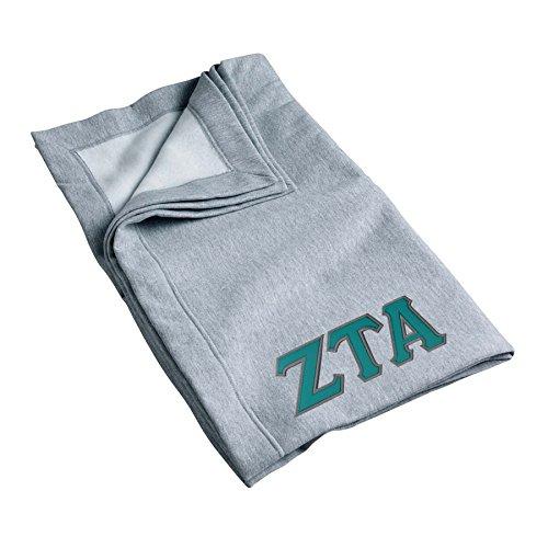Zeta Tau Alpha Sweatshirt Blanket with Twill Greek Letters