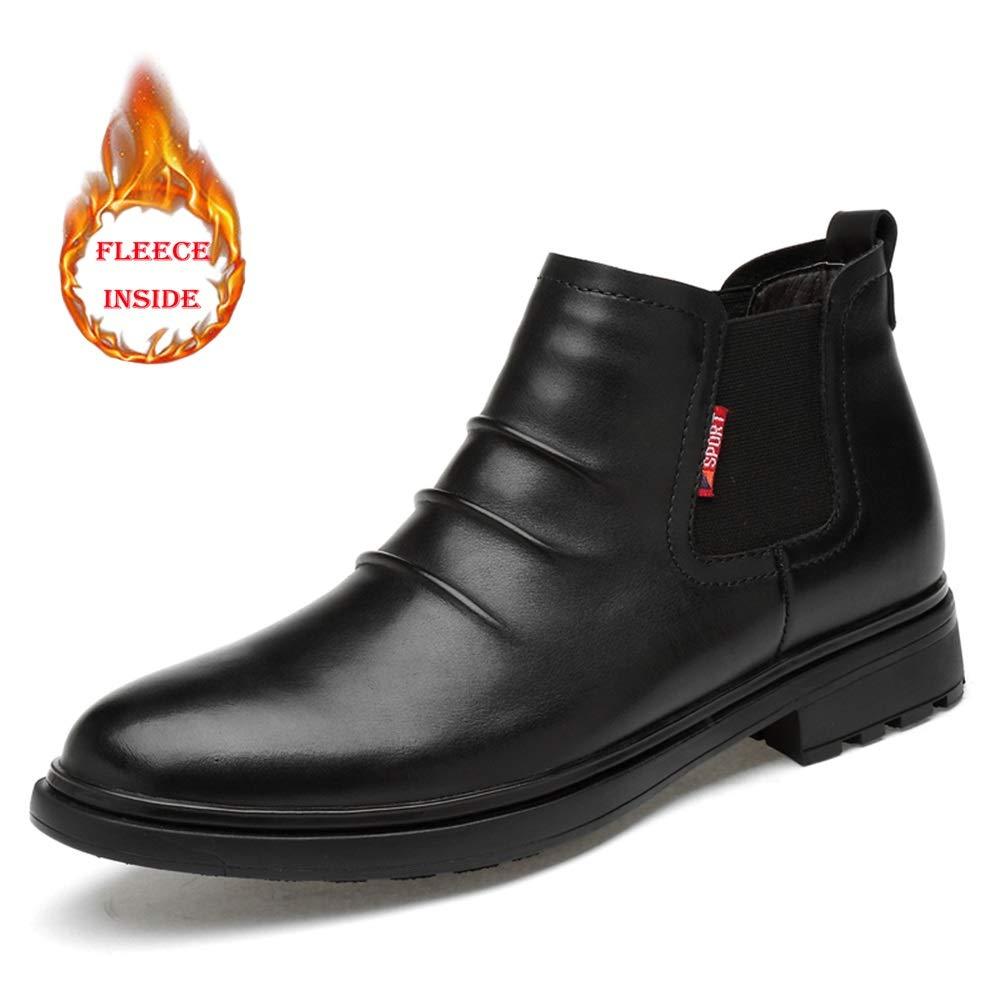 CHENJUAN Schuhe Herren Modische Chelsea-Stiefel Lässig und bequem mit Falten Fleece gefüttert Stiefelette
