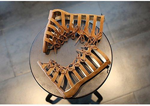 Picture of Vokamara Girls Fashion Summer Bow Gladiator Sandals Summer Dress Flats Brown 10.5M