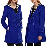 Hufcor Womens Business Double-Breasted Lapel Long Sleeve with Belt Wool Pea Trench Coat(Blue,XXXL)