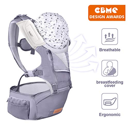 Bable Baby Carrier with Hip Seat, 6-in-1 Convertible Carrier, 360 Ergonomic Baby Carrier Backpack, Cool MESH for Spring and Summer - for 8-33lbs - Baby Wrap Carrier, (Grey) (Best Baby Carrier For Hip Development)