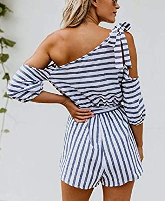 JINTING Striped Romper Short for Women Cold Shoulder Short Pants Casual Summer Romper Jumpsuit with Belt