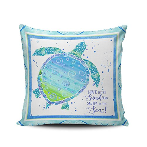 ONGING Decorative Throw Pillow Case Aqua Mint and Turquoise Salt Sand Sea Turtle Beach Ocean Watercolor Art Pillowcase Cushion Cover One Side Design Printed Square Size 16x16 inch