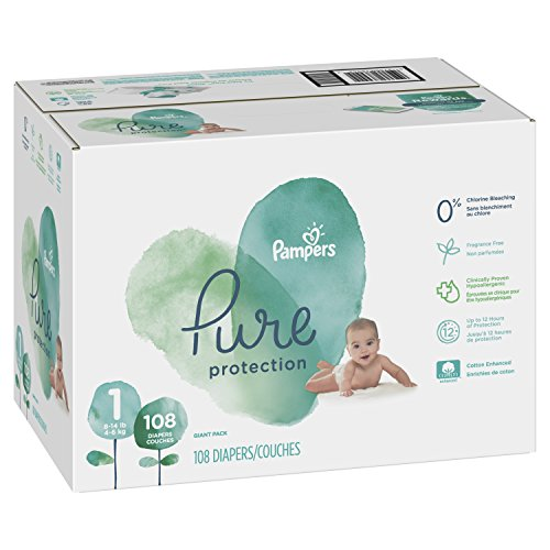Pampers Pure Disposable Baby Diapers, Hypoallergenic and Fragrance Free Protection, Size 1, 108 Count, Giant by Pampers