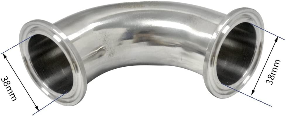 316Stainless Steel Sanitary Ferrule Elbow 38MM Length 1-1//2 1.5 90 Degree Pipe Fitting SS316 fits Tri-clamp 50.5MM