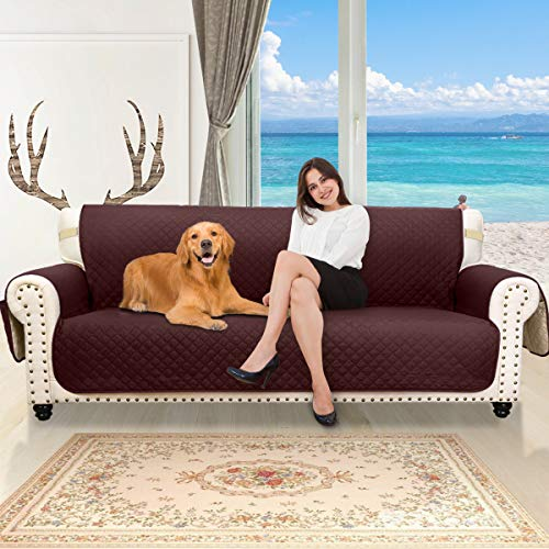 Honest Reversible Sofa Slipcover, Water Resistant Couch Cover with Side Pockets,Washable Sofa Cover Furniture Protector with Elastic Straps for Pets Kids Children Dog(Sofa Oversize, Chocolate&Beige)