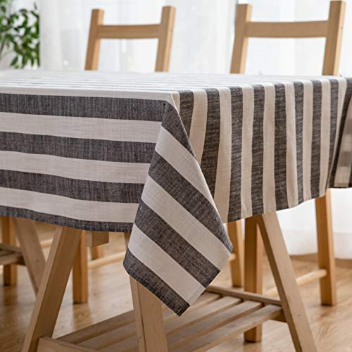 Aquazolax Weights Farmhouse Tablecloth Rustic Wedding Parties Stripe Pattern Table Overlay/Decorations, 54 x 84 inch, Black