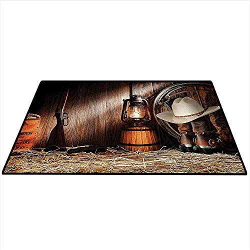 tion Customize Floor mats Authentic Gear Straw Hat ATOP Genuine Leather Boots and Kerosene Oil Lantern Lamp Indoors Bathroom 5'x6' (W150cmxL180cm) Dark Brown ()