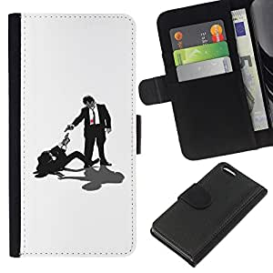 YiPhone /// Tirón de la caja Cartera de cuero con ranuras para tarjetas - Tarantino Pulp Fiction - Apple Iphone 5C