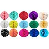 12 MIXED SIZES (4,6,8,10) HONEYCOMB BALLS WEDDING PARTY PAPER DECORATIONS by Matissa