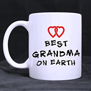 "White Ceramic Mug - Sweet Family Theme Simple ""BEST GRANDMA ON EARTH"" Coffee/Tea Mugs 11 Ounces Unique Birthday/Christmas/New Year/Festival Gift Choice"