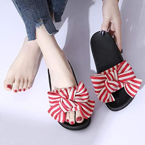Plein Automne Slip amp;H Stripes Toe Chaussures Rouge Printemps en Tongs NEEDRA Sliders Chaussons Peep Air Femme Hiver Bow on S D'éTé Confortables qITvwI