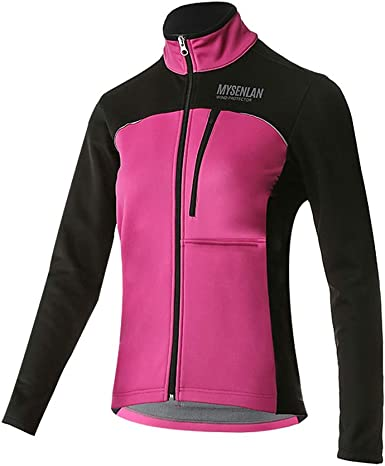 Ladies Cycling Soft Shell Jacket Long Sleeve Windproof Bike Coat Purple