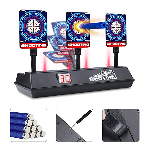 E-Starlet Electric Scoring Auto Reset Shooting Digital Target for Nerf Guns Darts N Strike Elite/Mega/Rival Series,Electronic Digital Target with 10 Bullets Darts & 1 Screwdriver and 1 Screw.