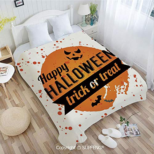 Plush Blanket Happy Halloween Trick or Treat Watercolor Stains Drops Pumpkin Face Bats(W59xL78.7 inch) Easy Care Machine Wash for Bedroom/Living Room/Camping etc ()