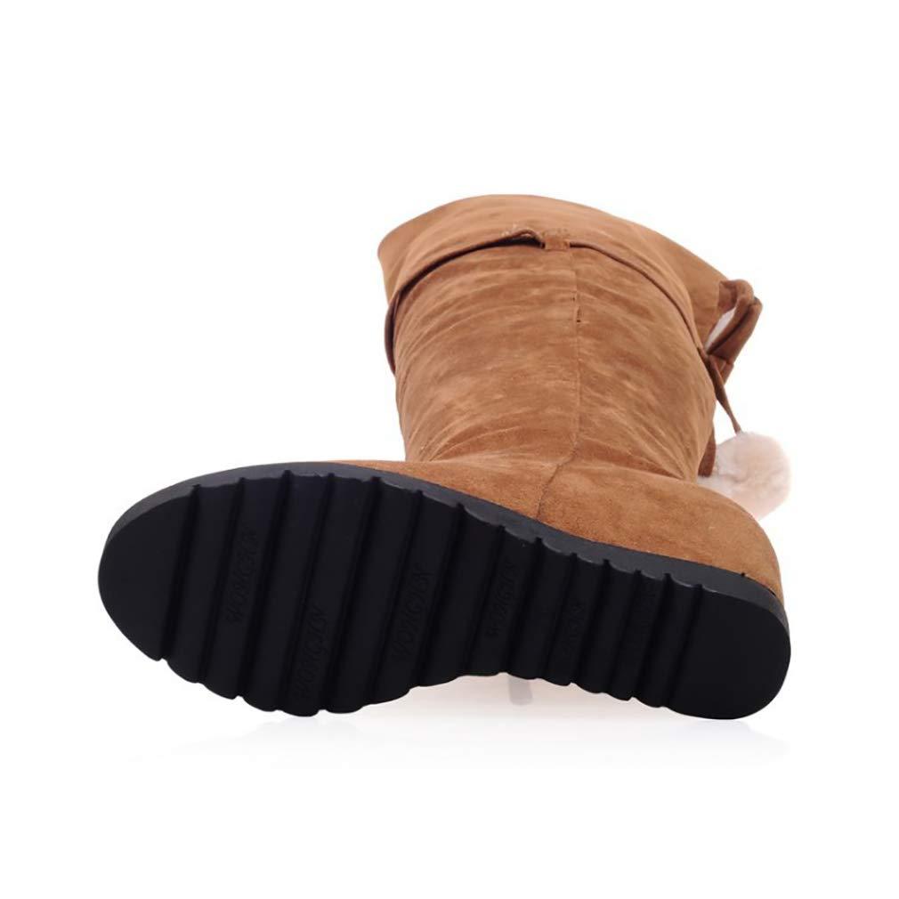 HY Damen Hohe Hohe Hohe Stiefel Wildleder Herbst Winter Plus Kaschmir Overknee Stiefel Ladies Inside Erhöhen Große Schneeschuhe Stiefel (Farbe   C Größe   43) fc0e82