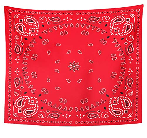 Emvency Tapestry Polyester Fabric Print Home Decor Colorful Bandanna Red Paisley Bandana Green Classic Neckerchief Abstract Black Wall Hanging Tapestry for Living Room Bedroom Dorm 50x60 inches