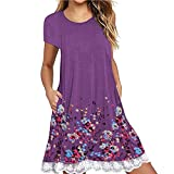 NRUTUP Women O Neck Casual Print Pocket Lace Short Sleeve Mini Dress Loose Party Dress (Purple,L)