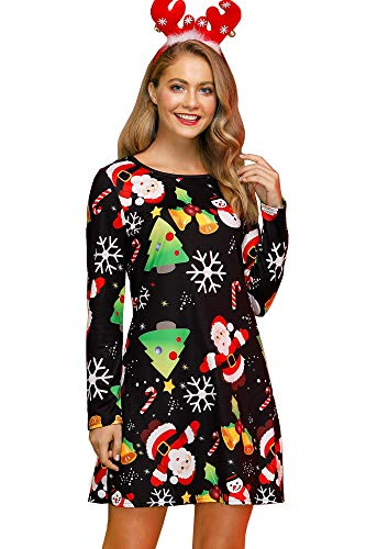 For G and PL Christmas Women Printed Gift Swing Party Long Sleeve Tunic Mini Dress Santa & Tree 2XL