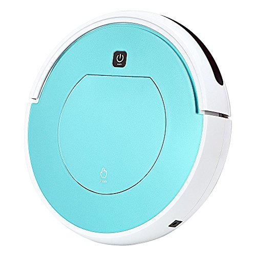 FENGRUI Robot Vacuum Cleaner Automatic Mini Strong Suction Remote Control HEPA Filter Robotic Vacuums for Dog Pets Hair Hardwood Floor Surfaces 11.4x11.4x2.95 Inches (Ice Blue)