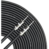 GLS Audio 50 feet Speaker Cable 12AWG Patch Cords - 50 ft 1/4 to 1/4 Professional Speaker Cables Black 12 Gauge Wire - Pro 50 Phono 6.3mm Cord 12G - Single