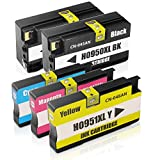Lin Ink Cartridges for HP 950 951 xl Best With Generic Compatible HP Officejet PRO 8600 8610 8620 8630 8640 8660 8615 8625 251dw 271dw(2 Black,1 Cyan,1 Magenta,1 Yellow)