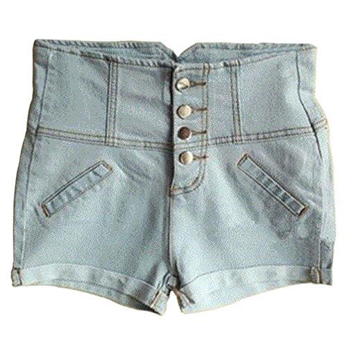 HHLJ Womens High Waisted Buckle Sailor Denim Shorts with Stretch Folded Hem Hot pants (M(7-9), Light Blue)
