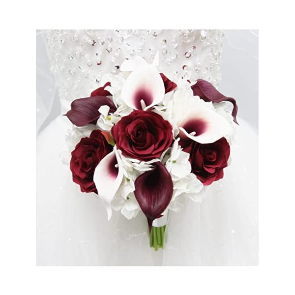 Angel Isabella Beautiful Hand-Tied Bouquet-Hydrangea Rose Calla Lily-Colors in Navy Wine Burgundy Fuchsia Raspberry Mint Spa Coral Turquoise Horizon Blue (White/Wine Burgundy, 10″)