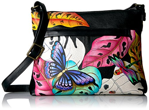 Anna by Anuschka Women's Genuine Leather Medium Crossbody with External Zipper Pocket | Hand Painted Original Artwork | Lovely Leaves