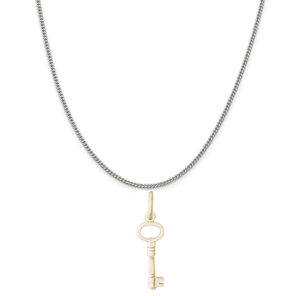 18 or 20 inch Rope Rembrandt Charms Two-Tone Sterling Silver Skeleton Key Charm on a Sterling Silver 16 Box or Curb Chain Necklace
