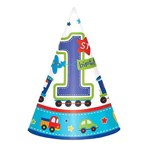 "amscan All Aboard Boy 1st Birthday Party Cone Hats, 6"", Blue/White"