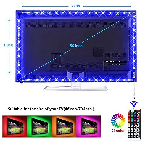 LED Strip Lights, 9.8FTUSB TV Backlight Kit TV Lights 20 Color Changing 5050 LEDs Bias Lighting with 44-Key IR Remote Controller for 46 Inch~70 Inch HDTV PC Monitor Home Theater Decoration