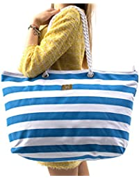 Large Canvas Beach Bag - Striped Tote Bag With Waterproof Lining - Top Zipper Closure