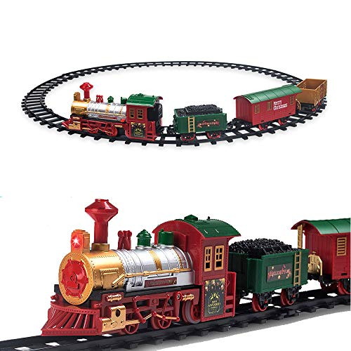 Christmas Tree Trains Sets (PUSITI Classic Christmas Train Set with Lights and Sounds Railway Tracks Sets Battery Operated Locomotive Engine and 11.5 Ft Tracks Playset for Under The Tree Electronic Toys Gift for)