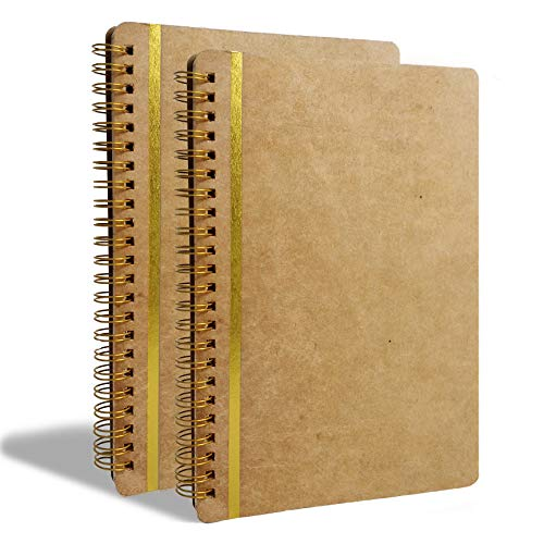 2-pack Spiral kraft notebooks/journals in A5 size - 148mm/210mm - 5.8in/8.3in
