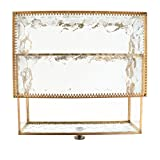 Jili Online Vintage Style Metal Glass Makeup Jewelry Cosmetic Organizer Clear Jewelry Display Storage Drawer for Jewelry Makeup Organizer Dresser Accessories & Bathroom Organized - Gold