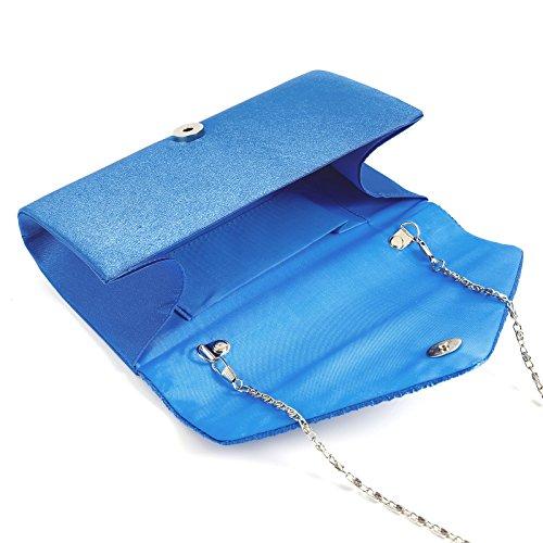 Bridal Envelope Handbag Pleated Clutch Evening Prom Wedding Party Bag Bag Royal Blue Satin nzWRvwqq