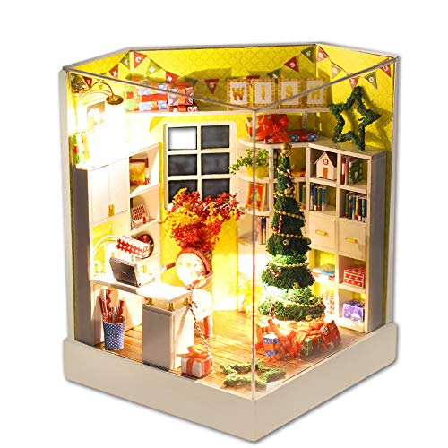 Weite 3D DIY Wooden Miniature House Kit, Creative Handmade Christmas Dollhouse with LED Light - Educational Puzzles Gift (Multicolor)
