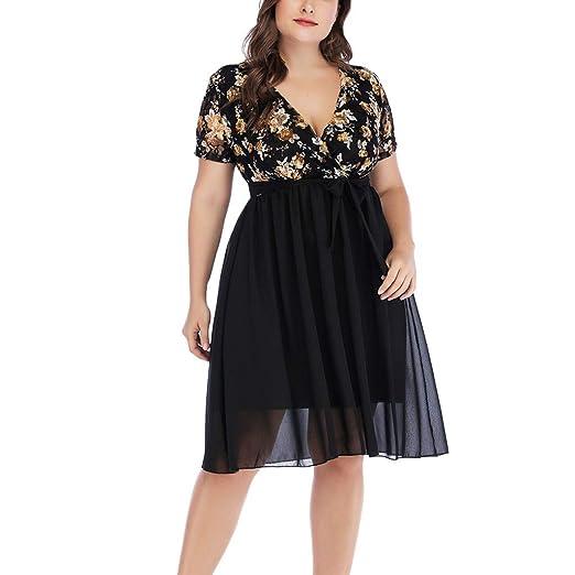 SGMORE Women\'s Short Sleeve Plus Size Dresses, V-Neck ...