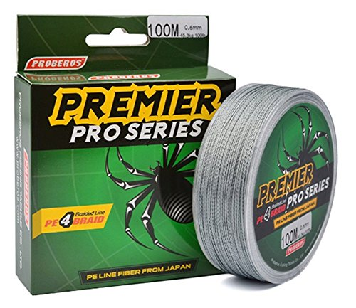 KMBEST Pro series-Braided Fishing Line, Abrasion Resistant Braided Lines, High Sensitivity and Zero Stretch-4 Strands Smaller Diameter (Gray, 8 LB (3.60KG) 0.12mm-110 - Fluorocarbon Series