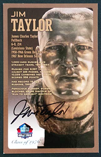 (PRO FOOTBALL HALL OF FAME Jim Taylor Signed Bronze Bust Set Autographed Card with COA (Limited Edition #85 of 150))