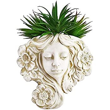 simpdecor Angel 10'' Hanging Wall Planter Vase & Head Wall Decor,Resin Wall Mounted Planter,Angel Statue Decor for Thanksgiving Day,Christmas Home or Outdoor Garden Decoration(Grey)