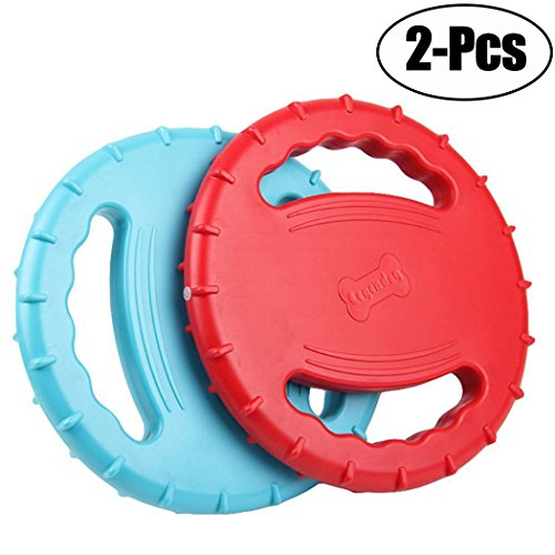 Legendog 2 Pcs Flying Disc, Squeaky Rubber Dog Toys Soft Flo