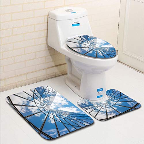 MTSJTliangwan 3-Piece Bathroom Set, Bathroom Rug + Contour pad + lid Toilet seat, Blue Sky and White Clouds Reflecting in a Glass buildin Comfortable Flannel Rug ()