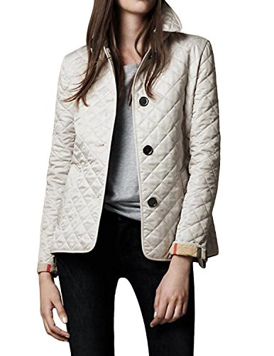 E.JAN1ST Women's Diamond Quilted Jacket Stand Collar Button End With Pocket Coat, Cream, TagsizeXXXL=USsize6-8 Collar Quilted Coat