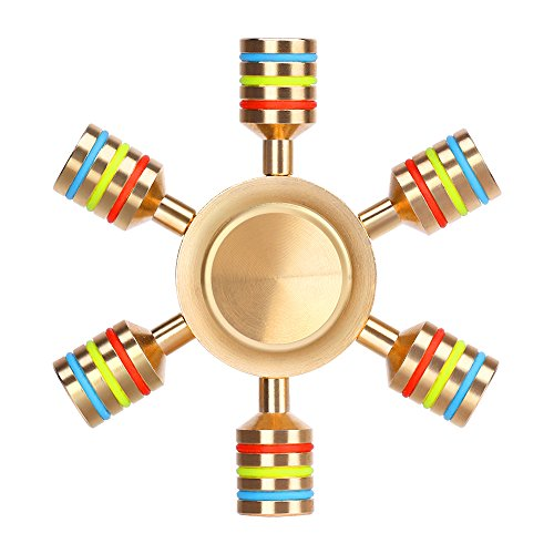 aukwing six winged brass hand fidget spinner rainbow edc focus toy stress reducer with high speed stainless steel r188 detachable bearings spins for add, adhd, anxiety and autism people - 51xlpQuCcML - Aukwing